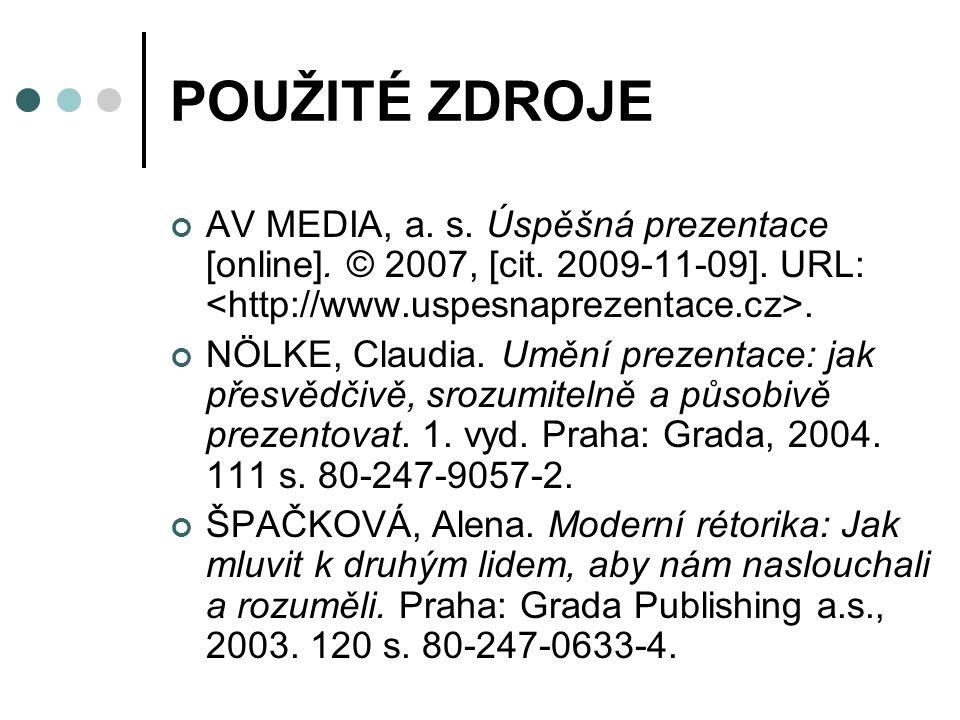 POUŽITÉ ZDROJE AV MEDIA, a. s. Úspěšná prezentace [online]. © 2007, [cit. 2009-11-09]. URL: <http://www.uspesnaprezentace.cz>.